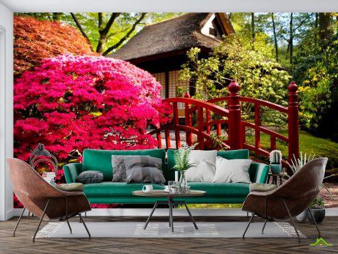 Фотообои Природа по выгодной цене Фотообои Дом, цветы, мост