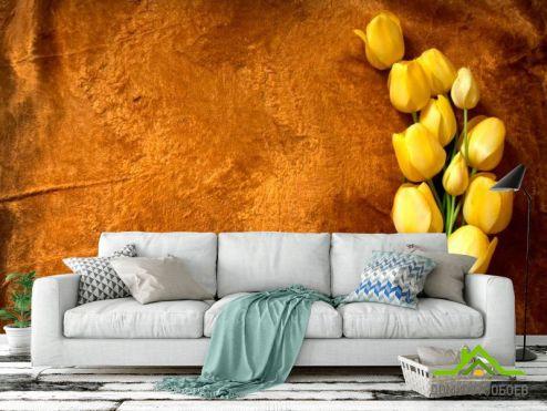 обои Цветы Фотообои Желтые тюльпаны