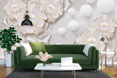 3Д барельеф Фотообои Цветы с жемчужинами
