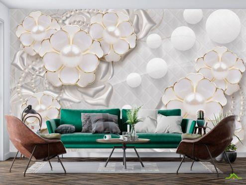 3Д  Фотообои  Белые цветы с жемчугом