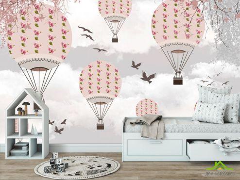Little kids Фотообои Розовые воздушные шары