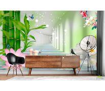 Фотообои Тонель с лотосами и бамбуком
