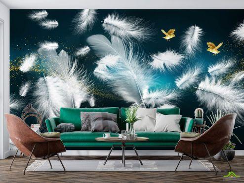 Фотообои перья по выгодной цене Фотообои Белые перья и золото