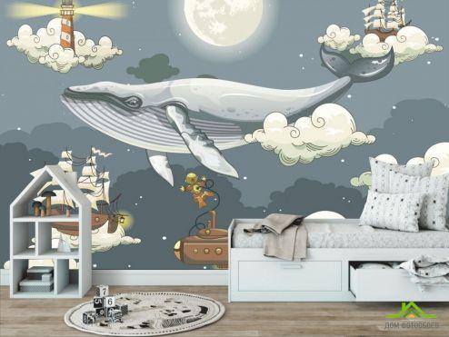 обои в детскую Фотообои Сказочный кит