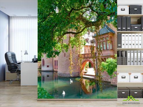 Архитектура Фотообои Замок с прудом