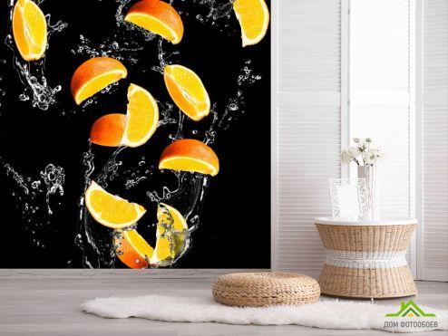 обои Еда и напитки Фотообои апельсинкаи на чёрном фоне
