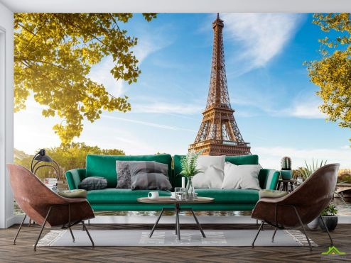 Париж Фотообои катера под Эйфелевой башней