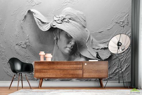 Черно-белые  Фотообои дама в шляпе