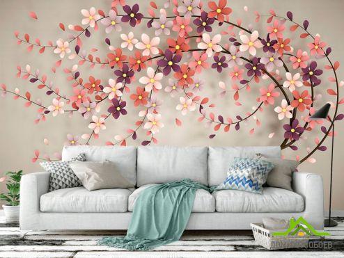 3Д  Фотообои Стереоскопическое дерево