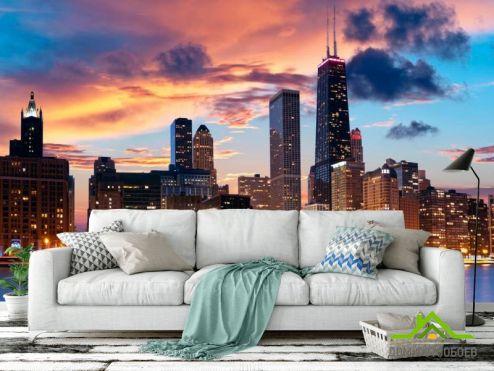 Фотообои Чикаго по выгодной цене Фотообои Закат, город, вода в Чикаго