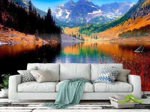 обои Горы Фотообои Тень, горное озеро