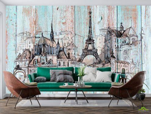 Иллюстрации Фотообои Париж на деревяных досках