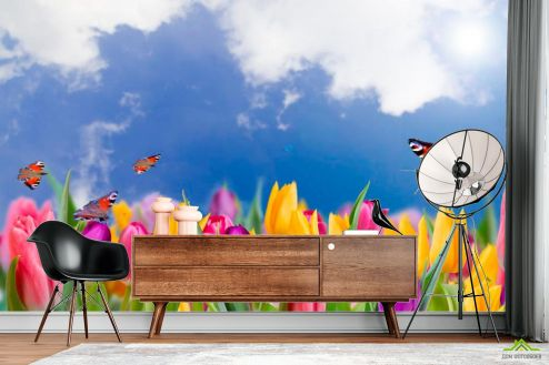 Тюльпаны Фотообои Тюльпаны и бабочки купить