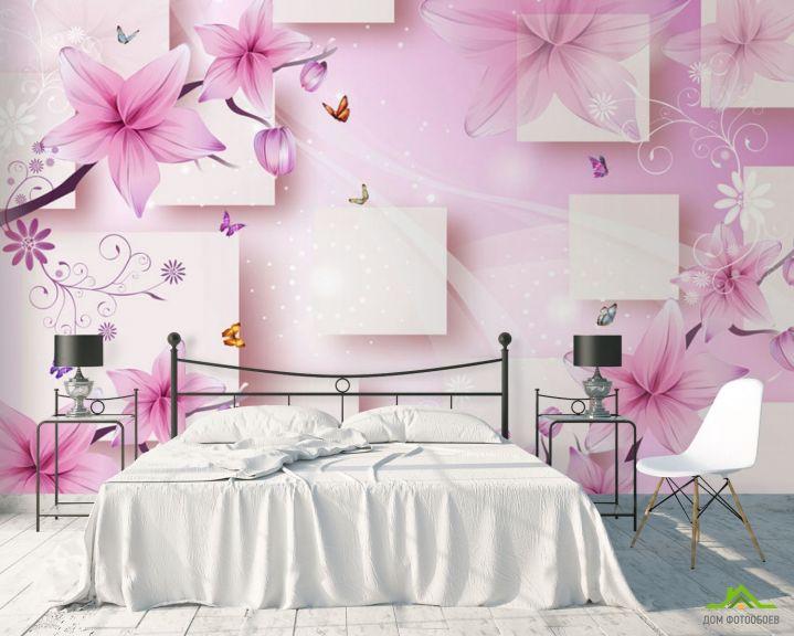 Фотообои 3д розовые цветы