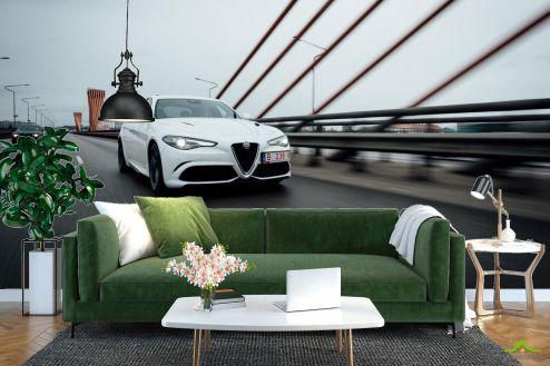 Фотообои Транспорт по выгодной цене Фотообои роскошная белая машина на мосту