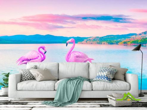 обои Животные Фотообои Фламинго