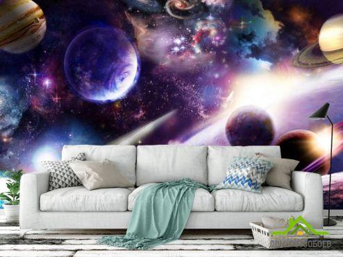 обои Космос Фотообои яркий космос с планетами
