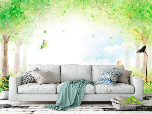 Зеленые обои Фотообои Сказочеая поляна