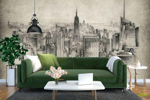 Фотообои Город по выгодной цене Фотообои Рисованный Манхеттен
