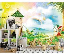 Фотообои Сказочные домики и радуга