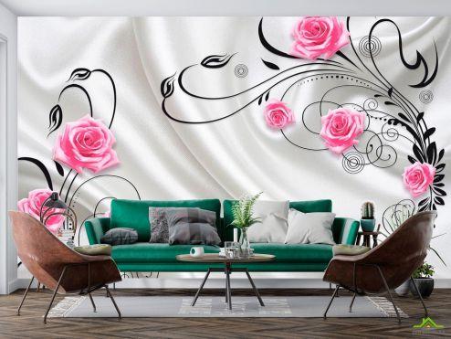 Серые  Фотообои Розы на атласе 3d