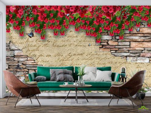 3Д  Стена с цветами 3д