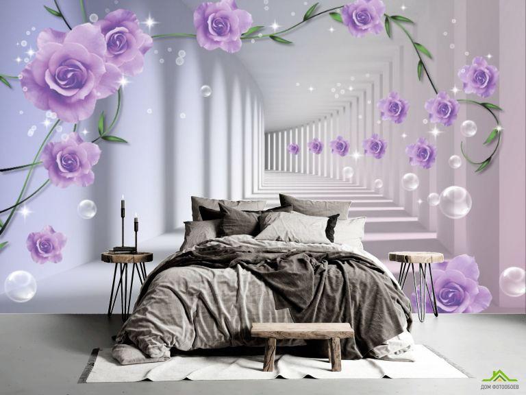 Фотообои 3D бутоны фиолетовых роз