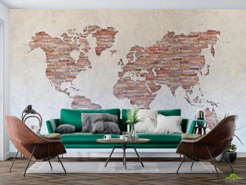 Карта Фотообои Карта на стене из кирпичей
