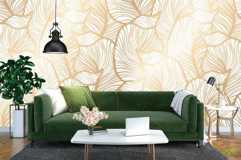 Модерн Фотообои Золотые листья