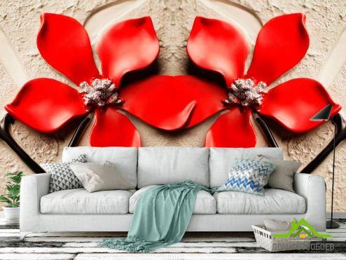 Фотошпалери, колір: «червоний» Фотообои Красные цветы