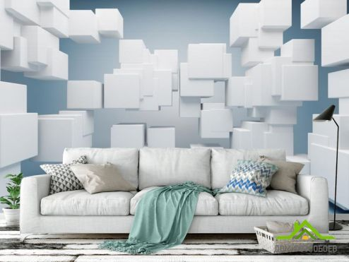 3Д  Фотообои Белые кубики 3Д