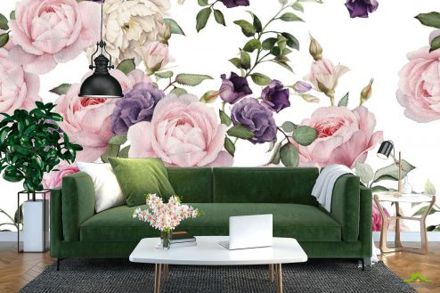 Пионы Фотообои розовые и фиолетовые пионы рисунок