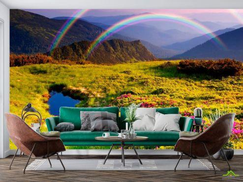 Природа Фотообои Цветное поле, радуга