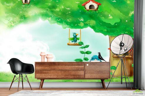 Иллюстрации Фотообои Дерево-домик