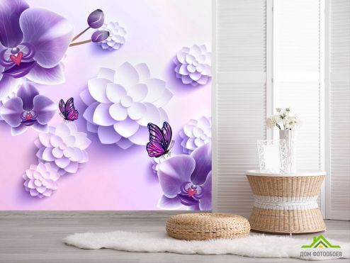 обои цветы 3d Фиолетовые орхидеи 3Д