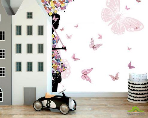 обои в детскую Фотообои Фея под цветочным зонтом