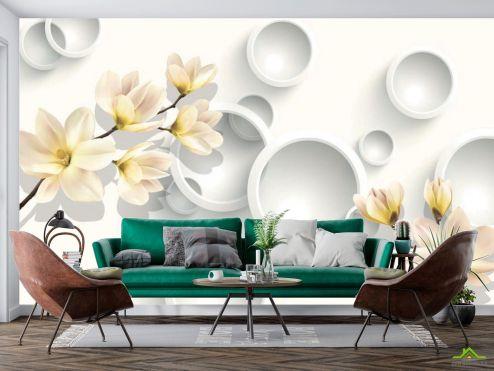 3Д  Фотообои Цветы с кругами  купить