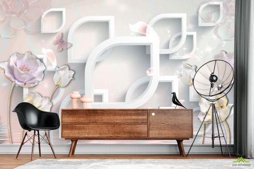 3Д барельеф Фотообои 3д керамические цветы