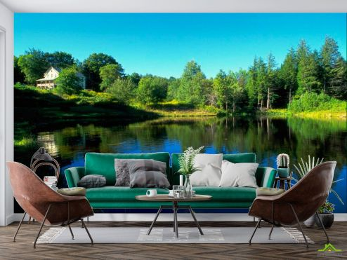 Природа Фотообои Дом у озера