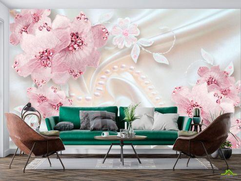 цветы 3d Фотообои Розовые цветы на атласе купить