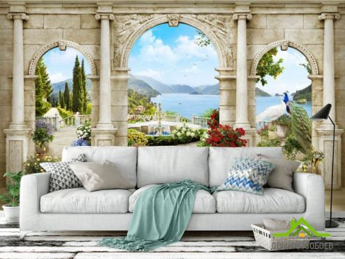 Фрески Фотообои Арка с пейзажем