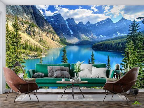 Природа Фотообои голубое горное озеро