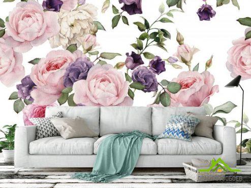 обои Цветы Фотообои розовые и фиолетовые пионы рисунок