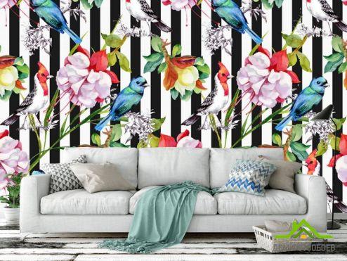 Эксклюзивные обои Фотообои Полосатая стена с цветами
