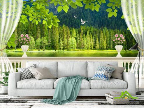 Фотообои Вид из окна по выгодной цене Фотообои Вид с балкона на лес