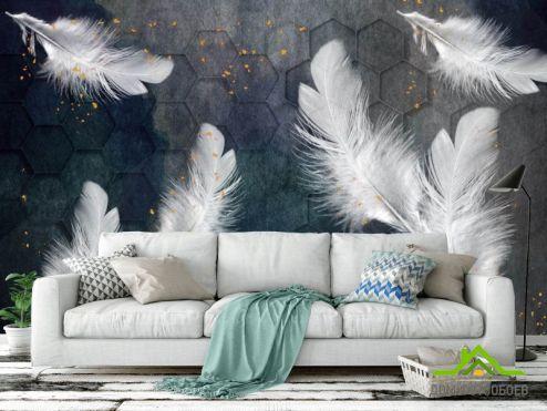 перья Фотообои Белые перья с золотом