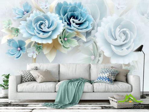 Цветы Фотообои Бирюзовые керамические цветы