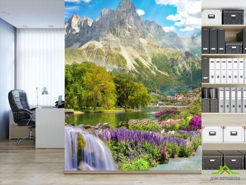 Фрески Фотообои большая гора над озером