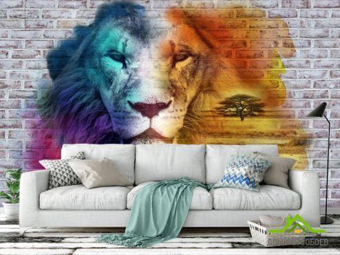 3Д обои Фотообои Стена 3д со львом