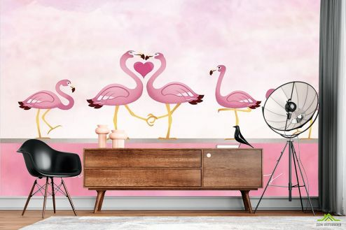 с Фламинго Фотообои Розовые фламинго